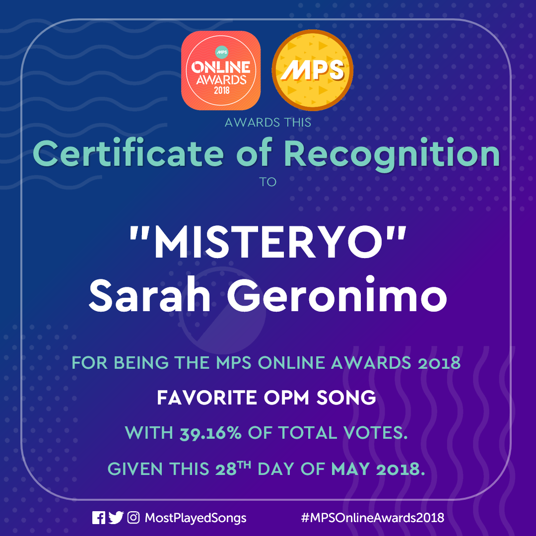 MPS Online Awards 2018 - Most Played Songs